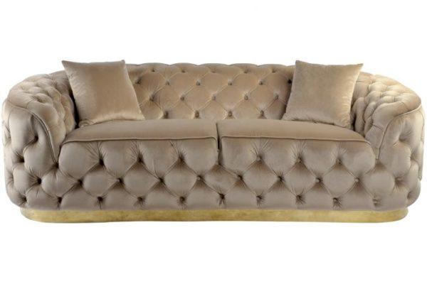 Canapé capitonné beige